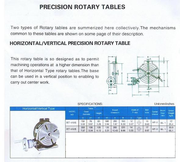 "Rotary Table (200mm / 8"") Horizontal & Vertical 90-1 Ratio"