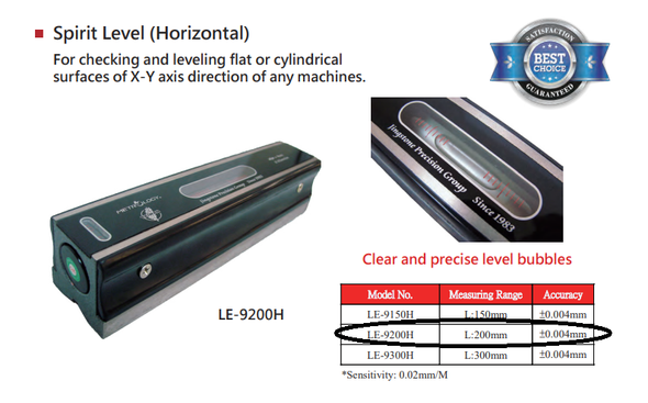 Machine Level (200mm long) Metrology Calibrated Precision .02mm Scale