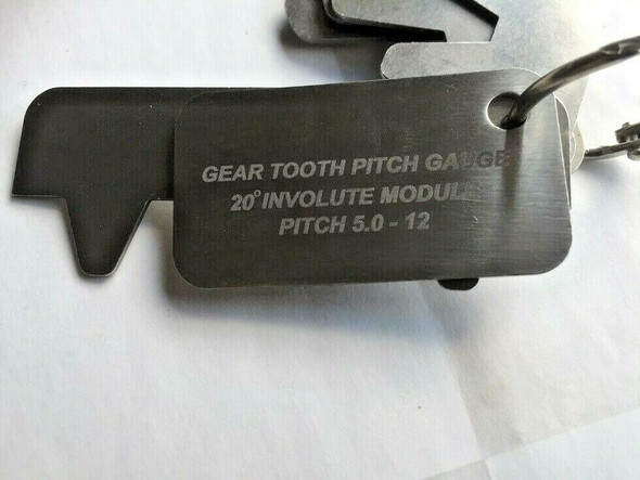 Gear Tooth Profile gauge leaves 8 sizes 5 to 12 DP 20 dec pressure angle