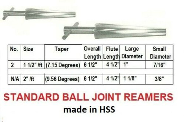 Ball Joint Reamer   Tapered Spiral Fluted HSS (Sizes Inside)