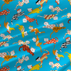 Kitty Novelty Fabric by the Yard in Carnival Turquoise