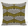 Pillow shown in Dorothea abstract floral fabric in Green colorway