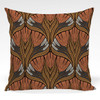 Pillow shown in Genevieve abstract floral fabric in Orange colorway