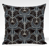 Pillow shown in Jane abstract floral fabric in Blue colorway
