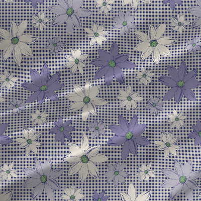Gingham - Check and Floral Fabric by The Yard