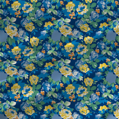 Belinda - Floral Fabric By The Yard in Bluebell