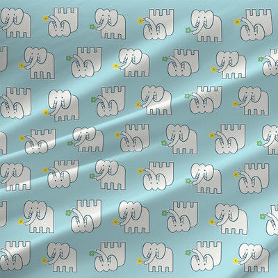 Elephant Motif Fabric by the Yard in Nursery Blue