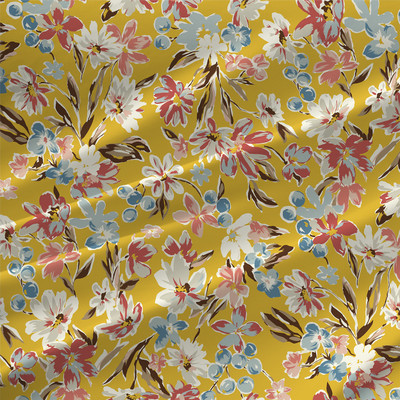 Morriah - Floral Fabric by the Yard in Maize