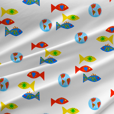 Guppy Children Fabric by the Yard in Primary