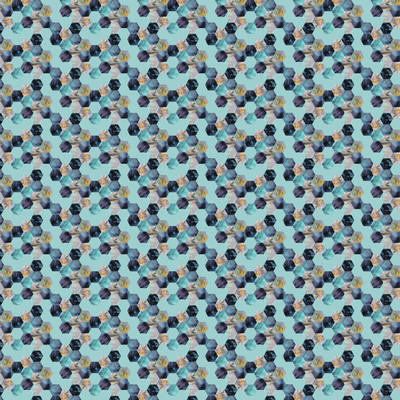 Blue Bee - Honeycomb Geometric Fabric By The Yard