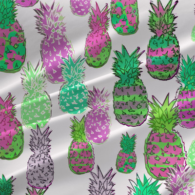 Ananas Tropical Pineapple Fabric by the Yard in Raspberry