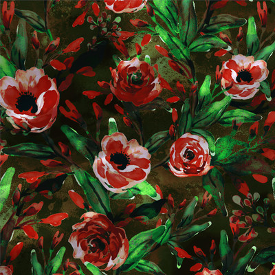 Rae - Floral Fabric by the Yard in Red