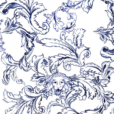 Roar Scroll Fabric Design shown in delft blue on white background