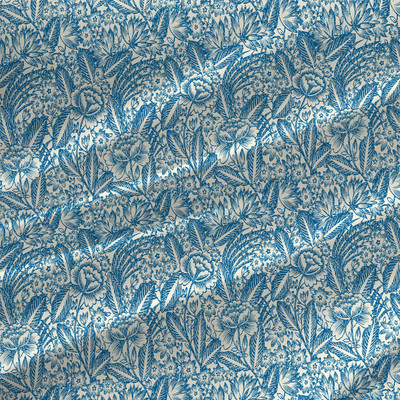 Etching Mini - Floral Fabric by the Yard in Bluebell