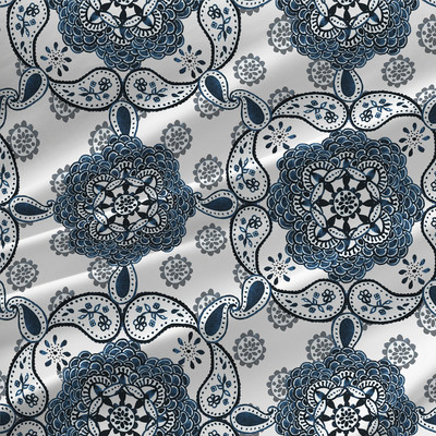 Medallion Square Paisley Fabric by the Yard in Indigo Blue