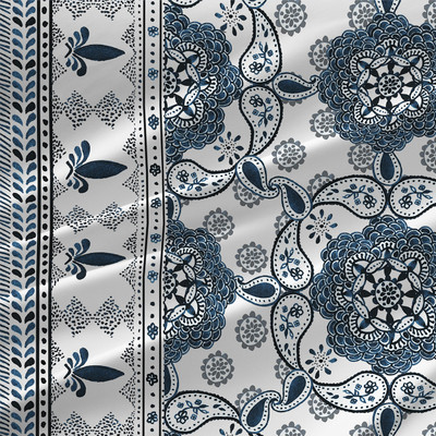 Medallion Border Fabric by the Yard in Indigo