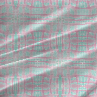 Spring Check Plaid Fabric by the Yard in Pink