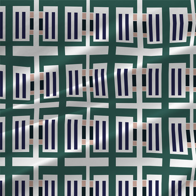 Modern Geometric Fabric by the Yard in Emerald Green