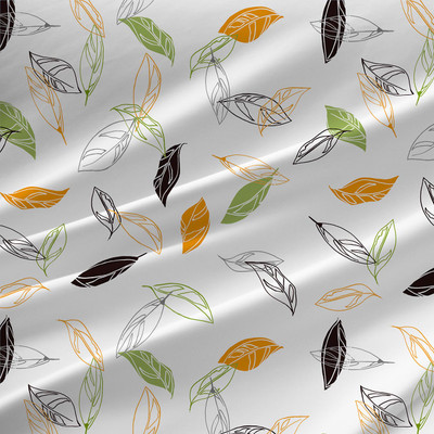 Boho Leaves Floral Fabric by the Yard in White