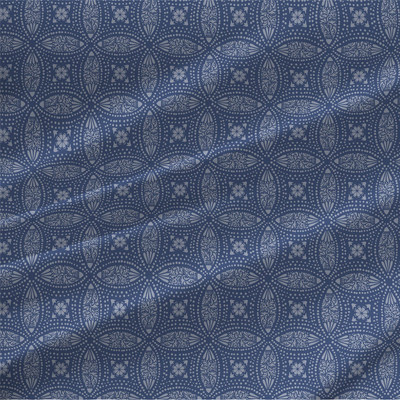 Overlapping Medallions Fabric in Blue
