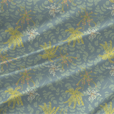 Mahonia Fabric in Green Blue colorway