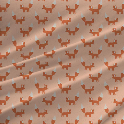 Foxes Mini Fabric by the Yard in Pink colorway