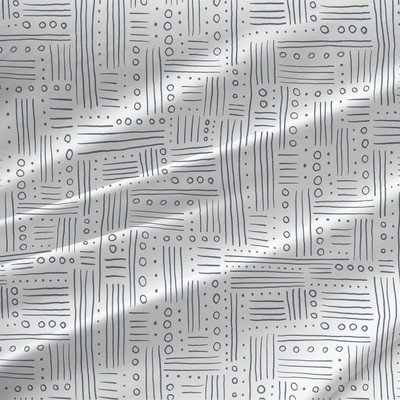 Dotty Lines fabric by the yard (Black and White)