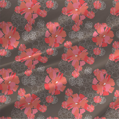 In Full Bloom Floral Fabric in Wood Colorway