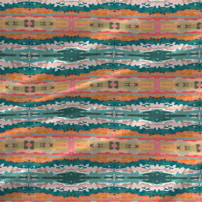Flow Abstract Stripe Fabric in Tropical Colorway