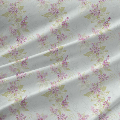 Lilac Sunday Floral Fabric by the Yard in Light Blue