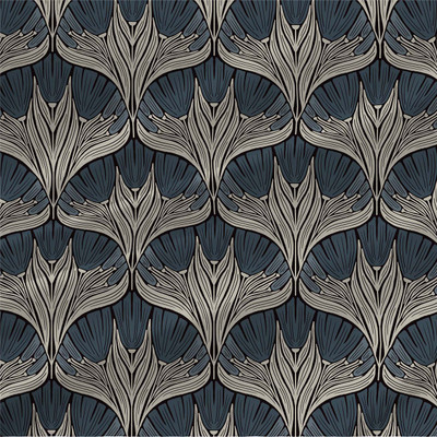 Genevieve Mini abstract floral fabric in Blue colorway