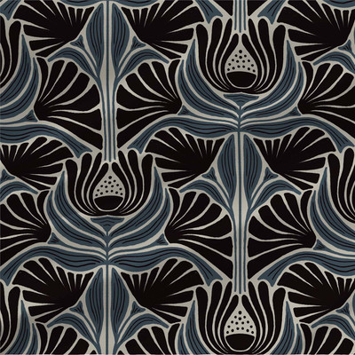 Jane abstract floral fabric in Blue colorway