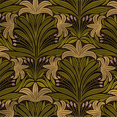 Lillian abstract floral fabric in Green colorway