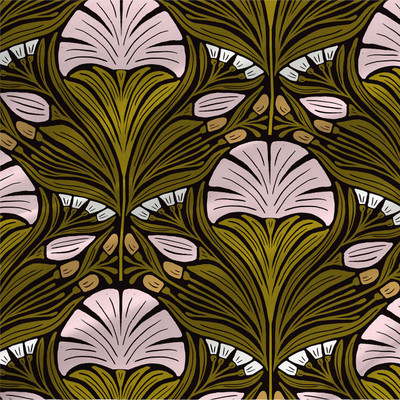 Othilia abstract floral fabric in Green colorway