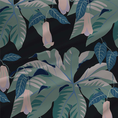 Tetrapanax fabric design by Kate Blairstone in Retro Blues colorway