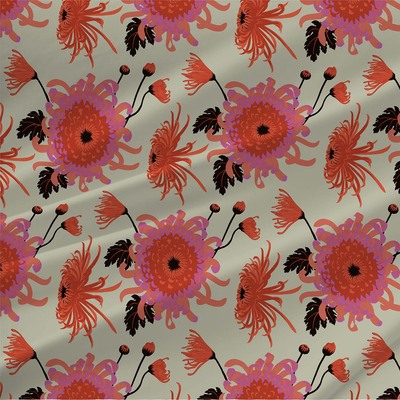 Chrysanthemum fabric by Kate Blairstone in Pistachio