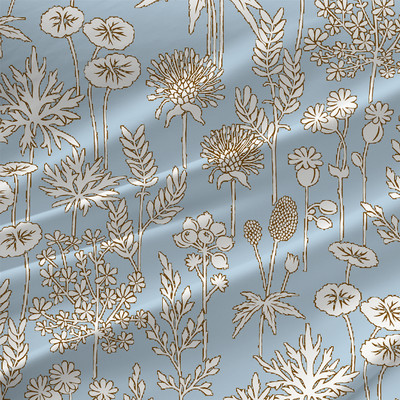 Botanica Floral Fabric By The Yard in Sky Blue Colorway