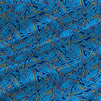 Calypso Abstract Fabric by the Yard in Ocean Blue