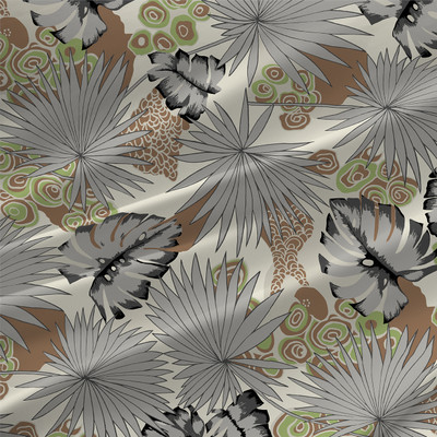 Jungle - Tropical Fabric by the yard shown in Shadows Gray