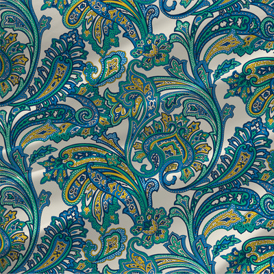 Paisley Floral Fabric in Bluebell colorway