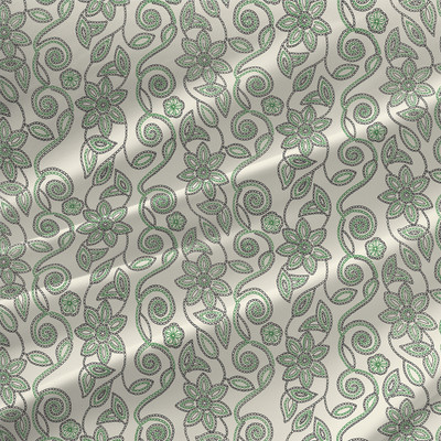 Stitch in Vine Floral Fabric by the Yard in Leaf Colorway