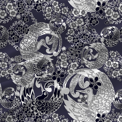 Flora - Floral Fabric By The Yard in Indigo Blue