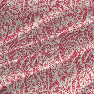 Etching Grande - Floral Fabric By The Yard in Geranium Colorway