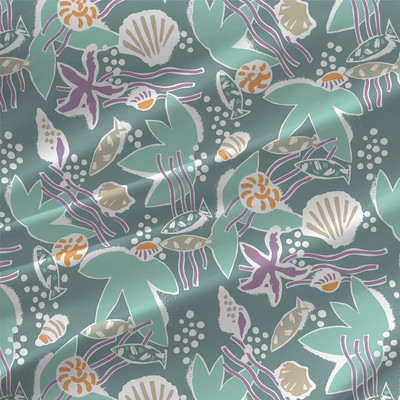 Aquatic Tropical Seashell Fabric by the Yard  in Ripple colorway