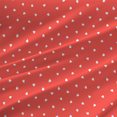 Delight Geometric Hearts Fabric By The Yard in Lipstick Red