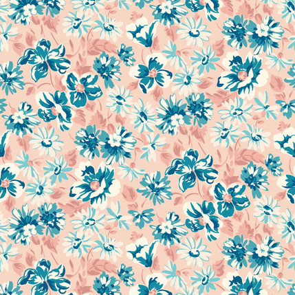 Shasta Floral Fabric Design (Coral Reef colorway)