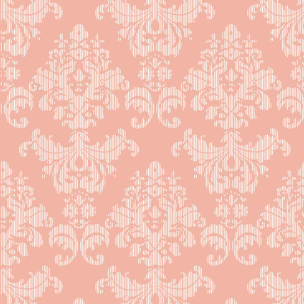 Napery Damask Fabric Design (Coral colorway)