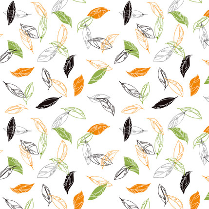 Boho Leaves Floral Fabric Design (White colorway)