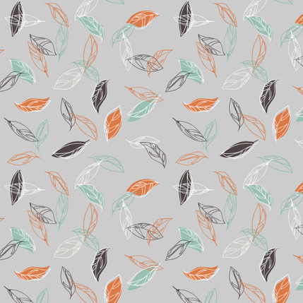 Boho Leaves Floral Fabric Design (Light Gray colorway)