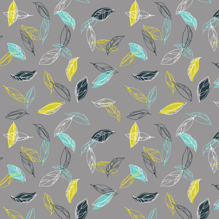 Boho Leaves Floral Fabric Design (Dark Gray colorway)